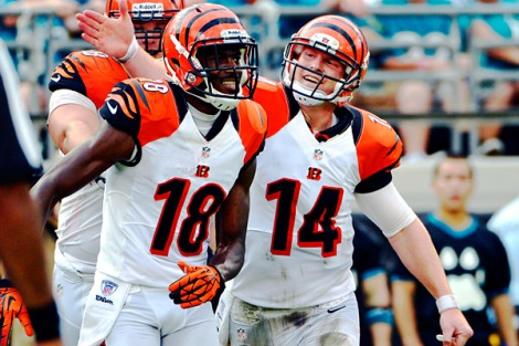 The present and future of the Bengals. A.J. Green (18) and Andy Dalton (14)