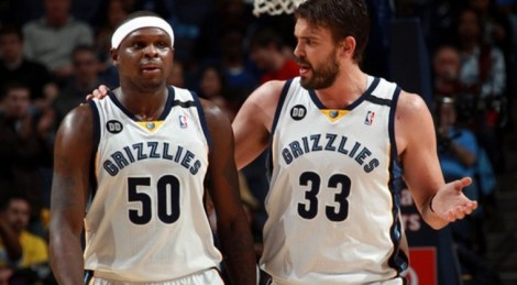 "Zach Randolph (Left) and Marc Gasol (Right) are the headliners at the ""Grind House"""